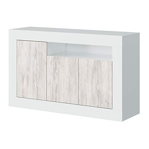 Habitdesign 036628A - Mueble aparador, Buffet Modelo Baltik, Acabado en Color Blanco...