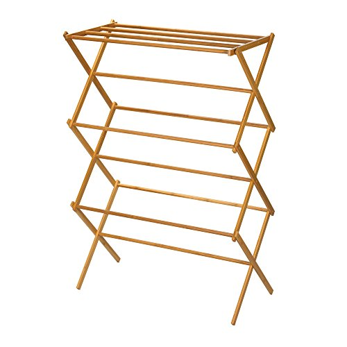 Household Essentials Folding Tall Wooden Clothes Drying Rack, Bamboo