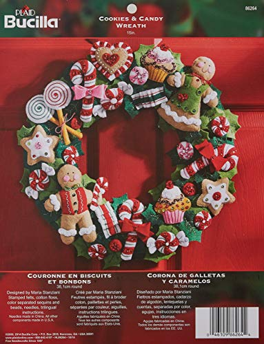 Bucilla Cookies & Candy Wreath Felt Applique Kit-15'X15'