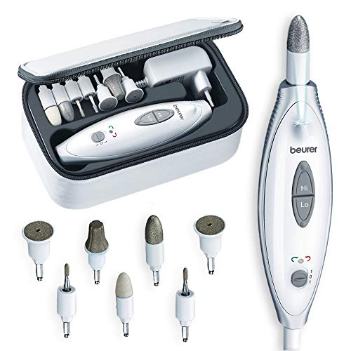 Beurer MP-41 - Set manicura y pedicura profesional, 7 accesorios incluidos, luz LED...