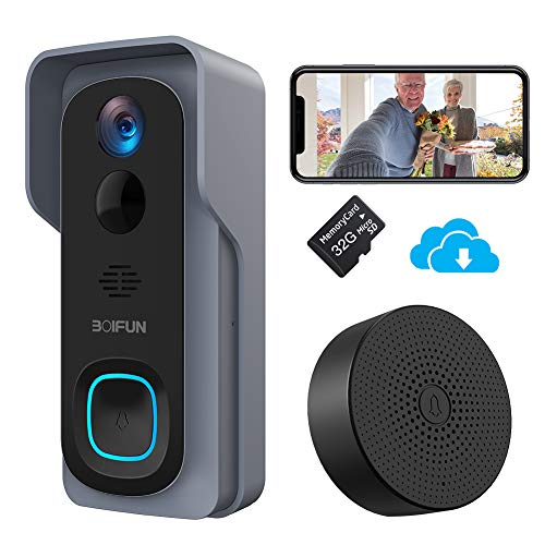 Timbre Inalámbrico con Cámara, BOIFUN HD 1080P Video Timbre Inteligente WiFi, IP66...