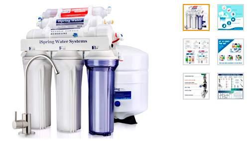 Sistema de filtrado de agua iSpring 75GPD de ósmosis inversa