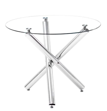 Mesa de comedor redonda de vidrio templado