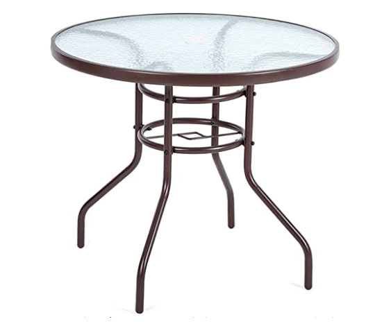 Mesa de cristal Redonda acero inoxidable