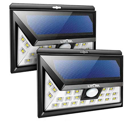 Litom - Luz solar de 24 LED al aire libre con sensor de movimiento, inalámbrico